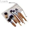 Bambu Pincéis de Maquiagem Pro Make up Brushes Fundação Blush Em Pó Escovas de Cosméticos + Bag EAB021 Cursavela