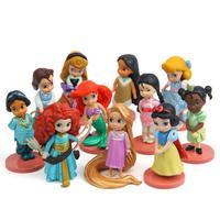 11pcs/set Princess Toys Moana Snow White Elsa Merida Action Figures Mulan Mermaid Tiana Jasmine Dolls Kids Gifts For Children