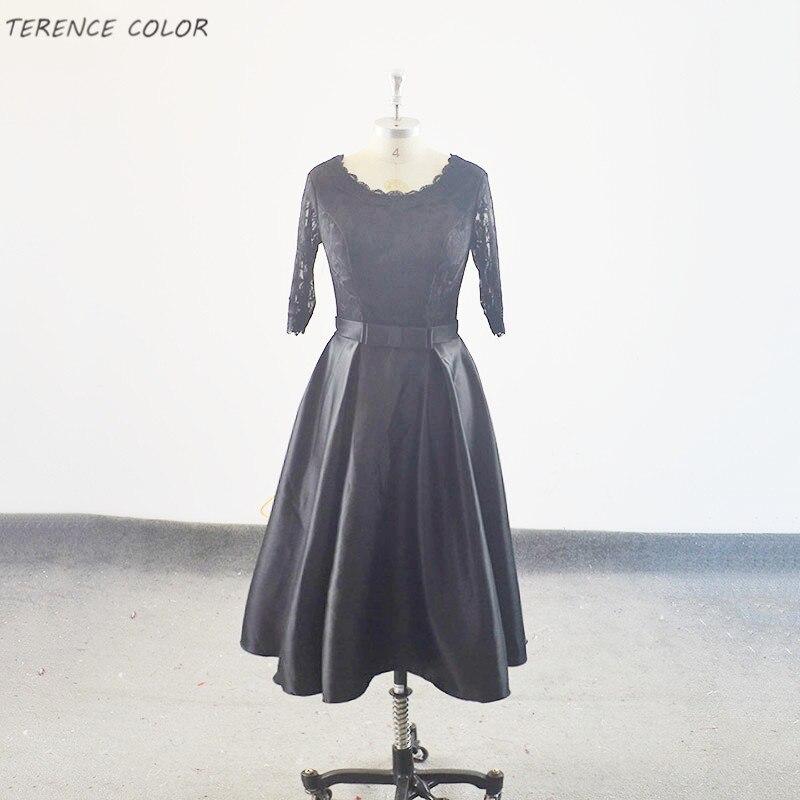 Réel Simple court robes de demoiselle d'honneur 2018 nouveaux styles noir moyen longueur mince élégant court banquet robe d'été sur mesure