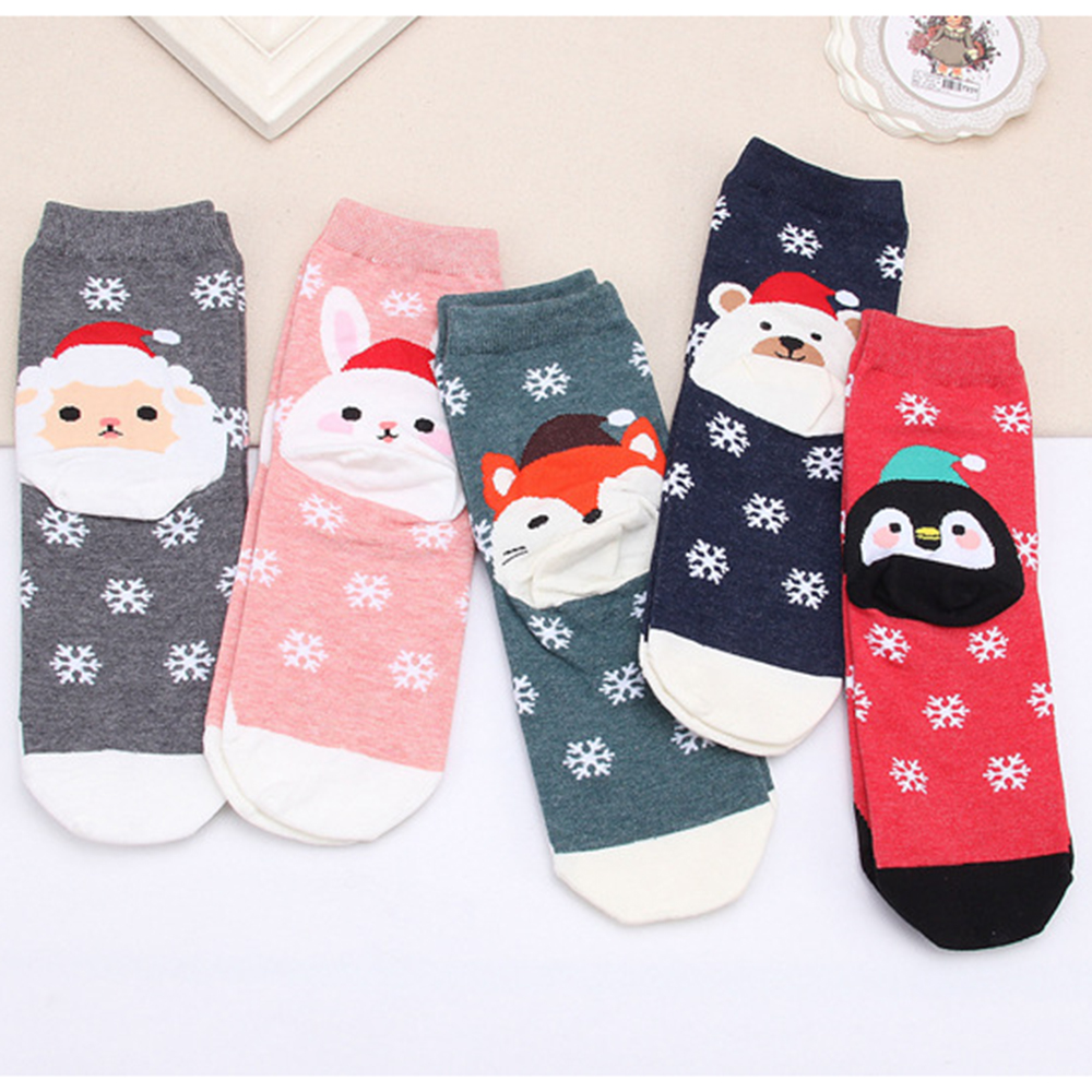 Women's Winter Socks Year-end Celebration Christmas Gift Warm Soft Comfortable Cotton Socks Female Cute Animal Printed Hosiery