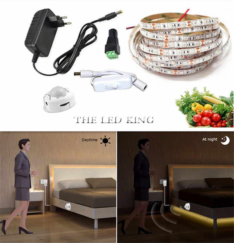 1-10 M ワイヤレス 2A 電源ナイトランプ LED テープリボン Pir モーションセンサー LED ストリップライト 2835 クローゼット階段ベッドキャビネットライト