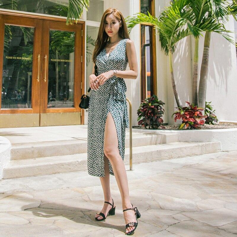 EFATZP 2018 lato kobiety kropki drukuj długi Wrap sukienka panie Maxi plaża sukienki Strand Jurkjes w Suknie od Odzież damska na  Grupa 3