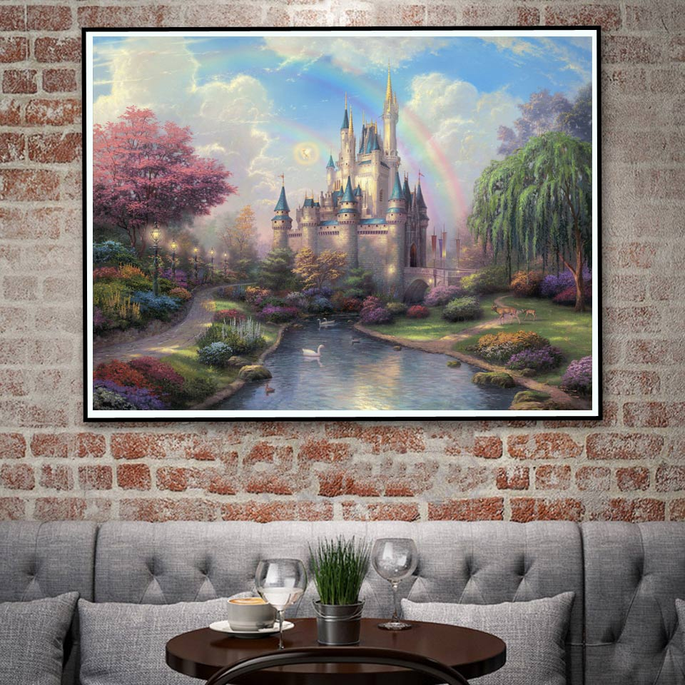 Thomas Kinkade Mountains Nature Landscape River Rainbow Art Silk Poster Wall Home Decor  ...