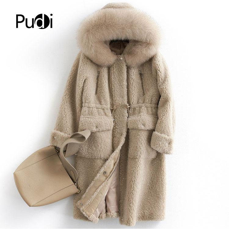 PUDI B181035 women's winter warm real wool fur jacket vest genuine leisure fox fur collar girl coat lady jacket overcoat