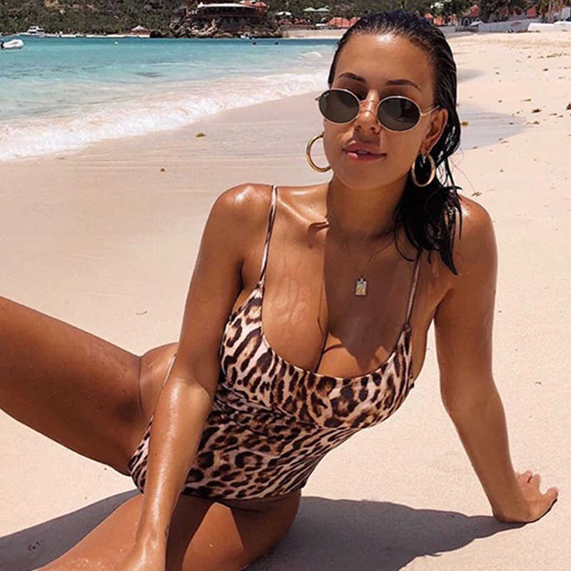 e5ab9842a8c ... Strappy leopard print one piece swimsuit women high waist swimwear Push  up sexy bathing suits body ...