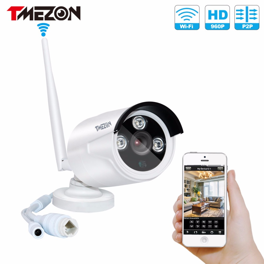 Tmezon Wireless WIFI IP Security Camera HD 960P 1.3MP Bullet Waterproof CCTV IR Night Vision Plug and Play P2P ONVIF For NVR howell wireless security hd 960p wifi ip camera p2p pan tilt motion detection video baby monitor 2 way audio and ir night vision