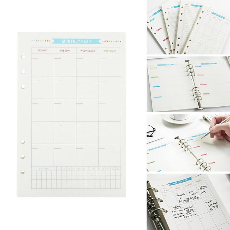 40 Pcs/set Spiral Planner Holes Loose Leaf Cuaderno Diary Weekly Monthly Refill Inner Paper List Plan To Do A5 Pages Notebook