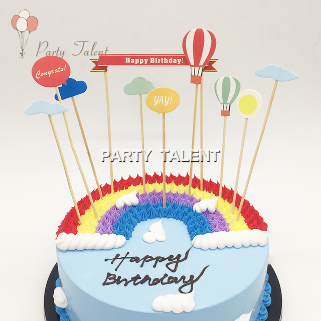 Aliexpress Buy 1set Hot Air Balloon Birthday Cake Toppers For