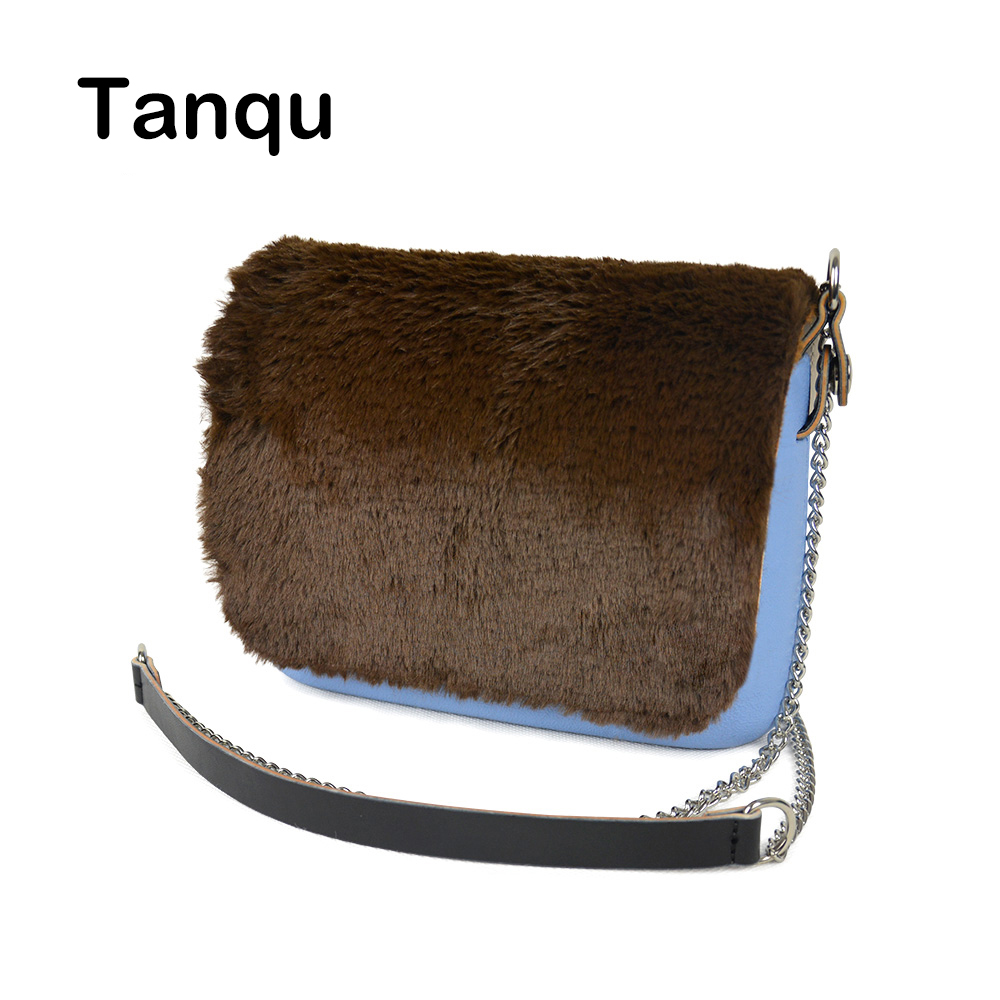TANQU New Colorful Obag Opocket Style EVA Pocket Plus Soft Plush PU Flap Long Chain Handle Strap with Clip Closure Attachment