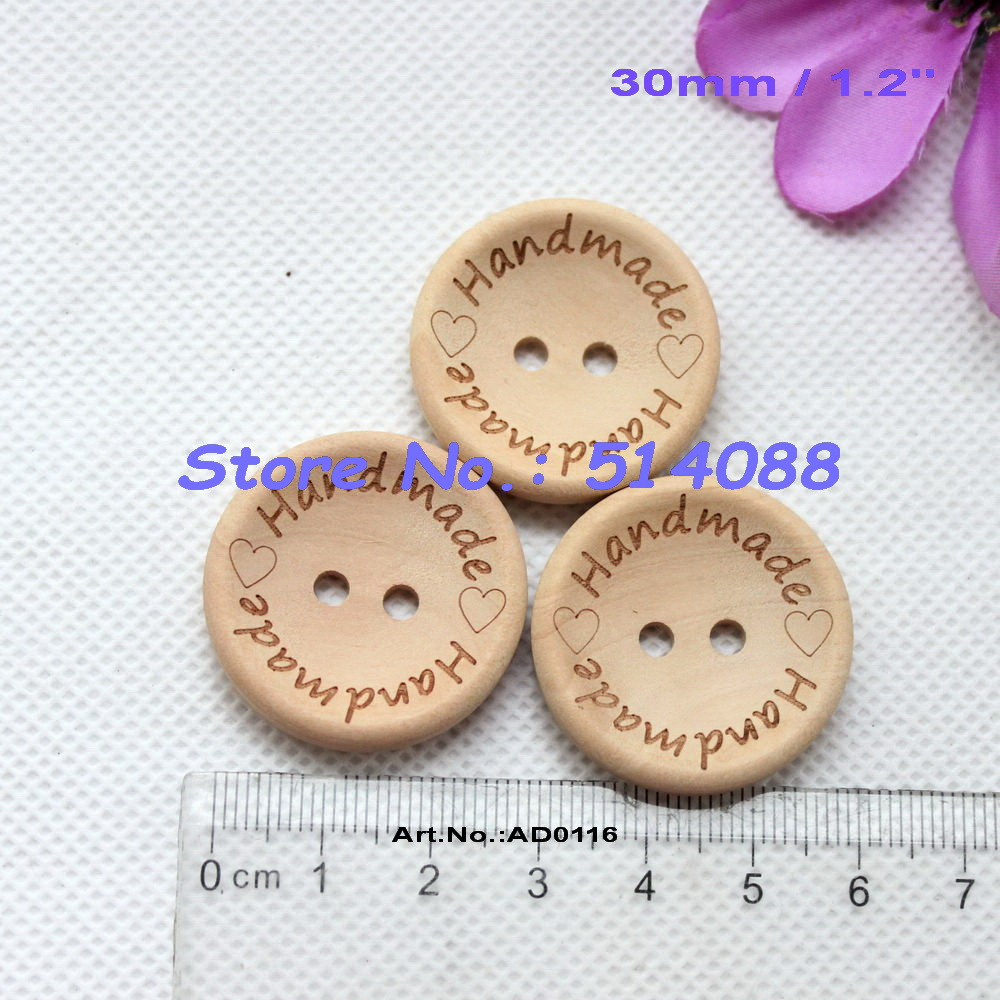 Bulk buttons for crafts -  80pcs Lot 30mm Handmade Natural Wooden Buttons Bulk Crafts Gift Sewing Button 1 2 Ad0116