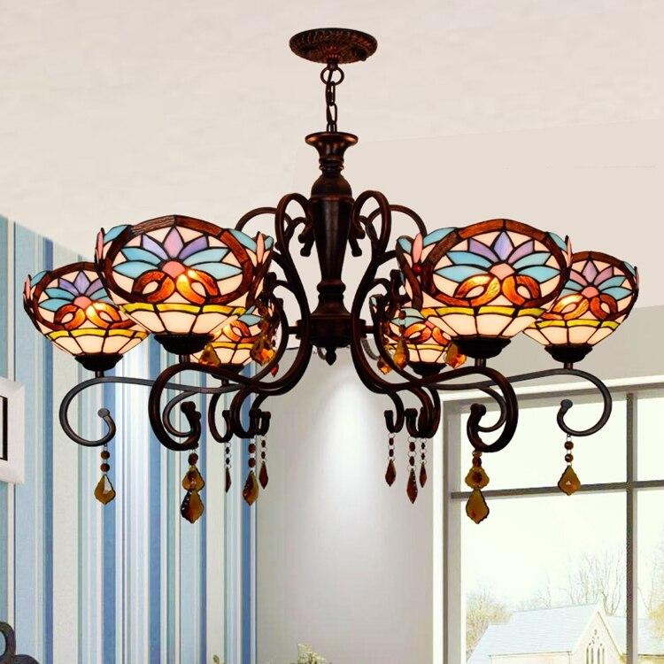 Тиффани барокко пятнистости Стекло подвесной светильник E27 110 240 В цепи подвесные светильники для домашнего кафе Обеденная