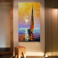 Palette Knife Canvas Seascape Paintings Modern Home Decor Wall Art Pictures Handpainted Abstract Sailboat Landscape Oil Painting