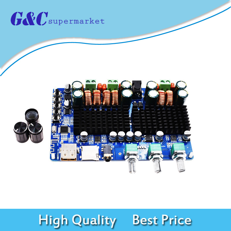 Digital 2.1 Channel Amplifier Board Bluetooth USB TF Input 50W+50W Stereo 100W Subwoofer Output Home Stereo Amplifiers