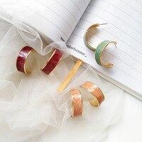 Bijoux fantaisie or cerceau rouge vert jaune époxy émail coloré femmes boucles d'oreilles pour cadeau