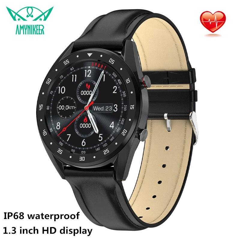 AMYNIKEER smart watch L7 Bluetooth call watch men s heart rate monitor 1 3 inch HD