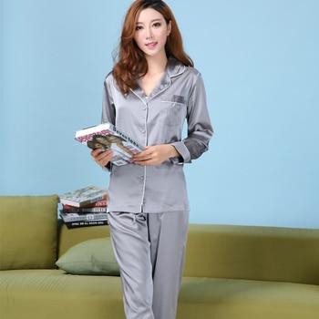 Womens Silk Satin Pajamas Set Satin Pajama Pyjamas Set Long Sleeve Sleepwear Loungewear XS, S, M, L 2