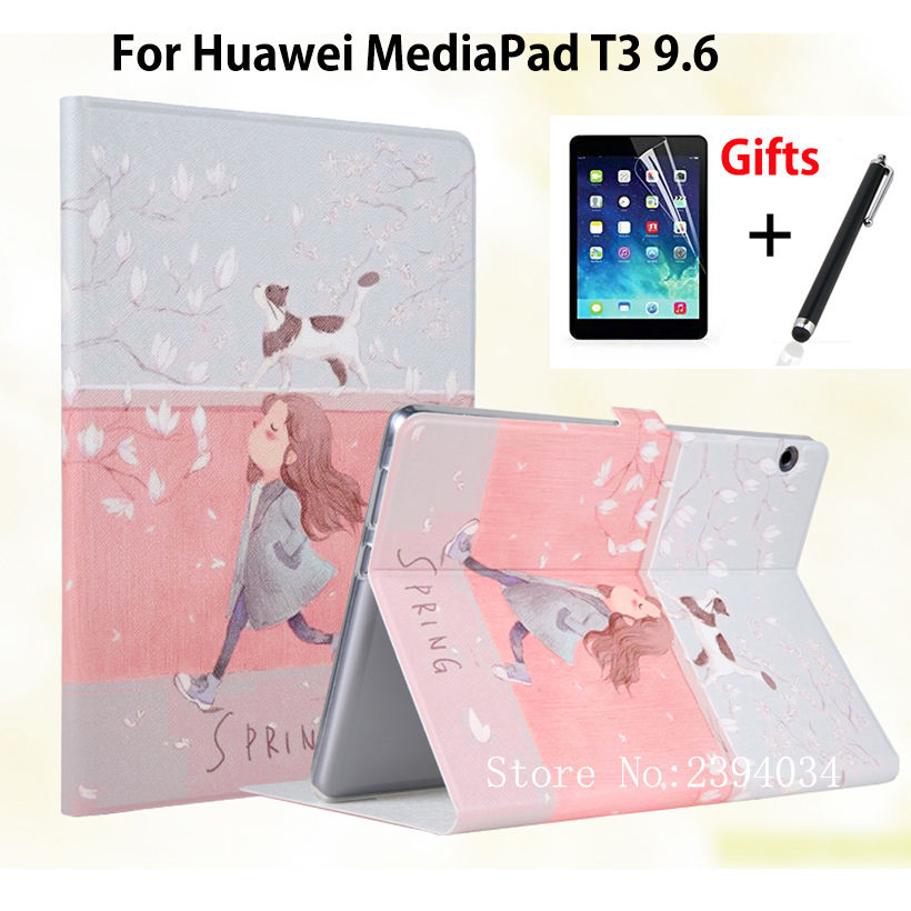 Slim Painted Case For Huawei MediaPad T3 10 AGS-L09 AGS-L03 9.6 inch Smart Cover Funda for Honor Play Pad 2 9.6 Cover+Film+Pen