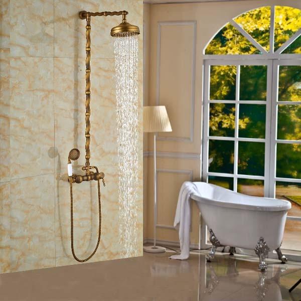 New Arrive Unique Design Carved Pattern Dual Handles Shower Faucet Antique Brass Finish Rainfall Shower Mixer Tap + Handheld