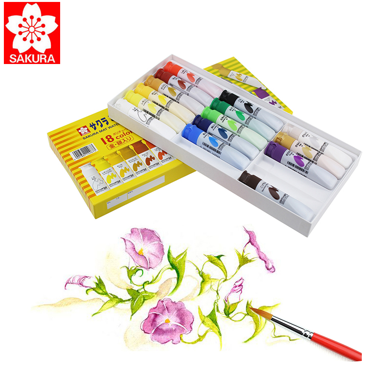 Sakura Watercolor Paint 18 Colors Watercolor Set 12ml Washable Watercolor Set Yellow Box Professional Watercolor Paints sakura watercolor 12 15 18 colors 12ml pigment translucent easy to wash additional gold silver color yellow box art set