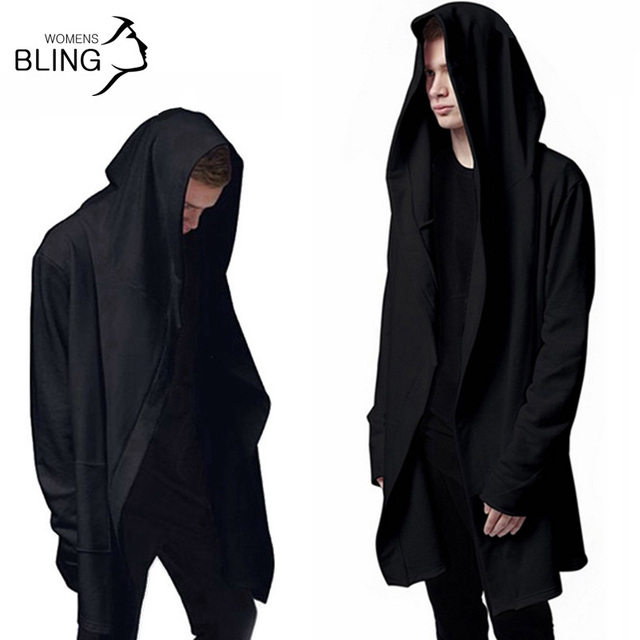 Men Hooded With Black Gown Best Quality Hip Hop Mantle Hoodies and Sweatshirts long Sleeves Design Cloak Winter Coats Outwear