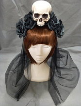 Handmade Black Witch Skull Rose Headband Hairband Accessory Demon Evil Gothic Lolita Cosplay Halloween Headwear Prop цена и фото