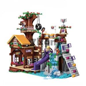 Image 2 - Совместимый с друзьями 41122 Приключения лагерь Tree House 41122 Emma Mia Рисунок Модель BuildingToy хобби для детей