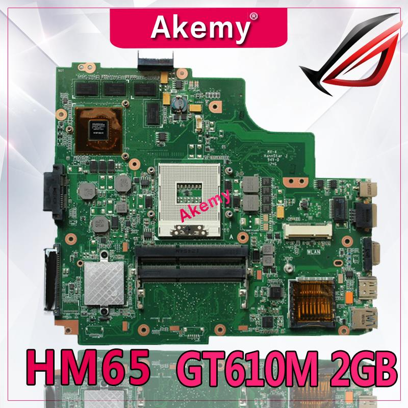 Akemy K43SD laptop Motherboard For ASUS A43S K43S A84S K43SD Mainboard 100 OK HM65 GT610M 2GB