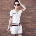 Summer Knitted Two Piece Set Women Fashion Ladies Short Sleeve Striped Casual Tops and Shorts Pants Suit Black White Red L073