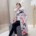 Plus Size 2016 Winter Thickening Warm Long Down Jacket Fashion Printing Knee-length Long Cotton-padded Hooded Wool Collar Coat