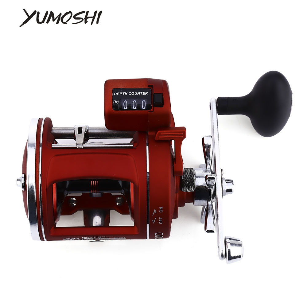 YUMOSHI 12 Bearings Drum Wheel Left / Right hand Fishing Reel with Electric Depth Counter Multiplier Body Cast Drum Wheel