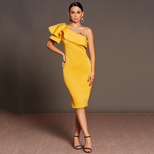 Tanpell oblique collar one shoulder ruffle cocktail dress