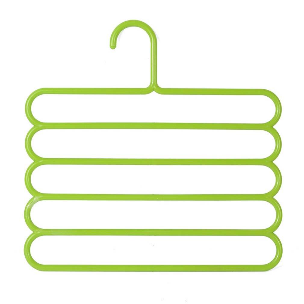 5 слоев не Нескользящая мультифункциональная подкладка под вешалки для одежды со штанами Для Хранения Вешалки ткань стойки Многослойные хранения шарф галстук вешалка 1 шт - Цвет: Green