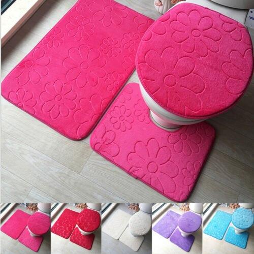 3 шт Ванная комната Нескользящая стойка для тряпок + крышка для унитаза + коврик для ванной моющийся набор