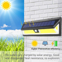Solar outdoor lighting lamp LED 180 chip COB Street Waterproof IP65 light for outdoor garden yard street barn etc