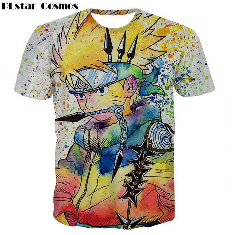 PLstar Cosmos Uzumaki Naruto One Piece Anime T Shirt 3D Print Men Women Graffiti Shirt Kakashi T-shirts Fashion Tee Shirt Homme