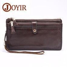 JOYIR  Men Double Zipper Wallets Genuine Leather Men Wallets Business Clutch Wallet Bag Male Wallet Coin Purse Card Holder