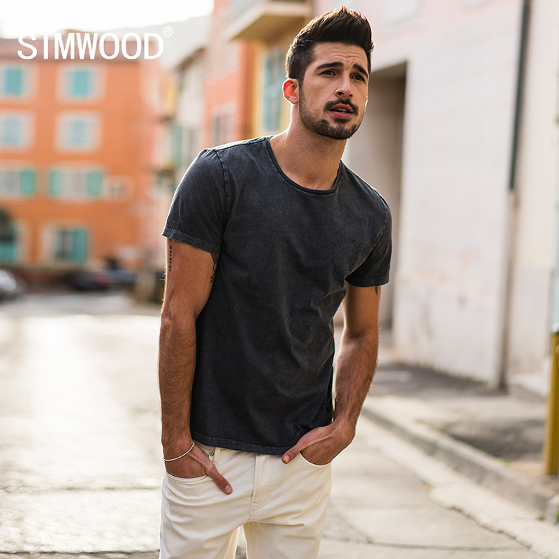 SIMWOOD New 2019 Summer   T     Shirts   Men 100% Pure Cotton Letter Print Tops Slim Fit High Quality Fashion Brand Tees 180004