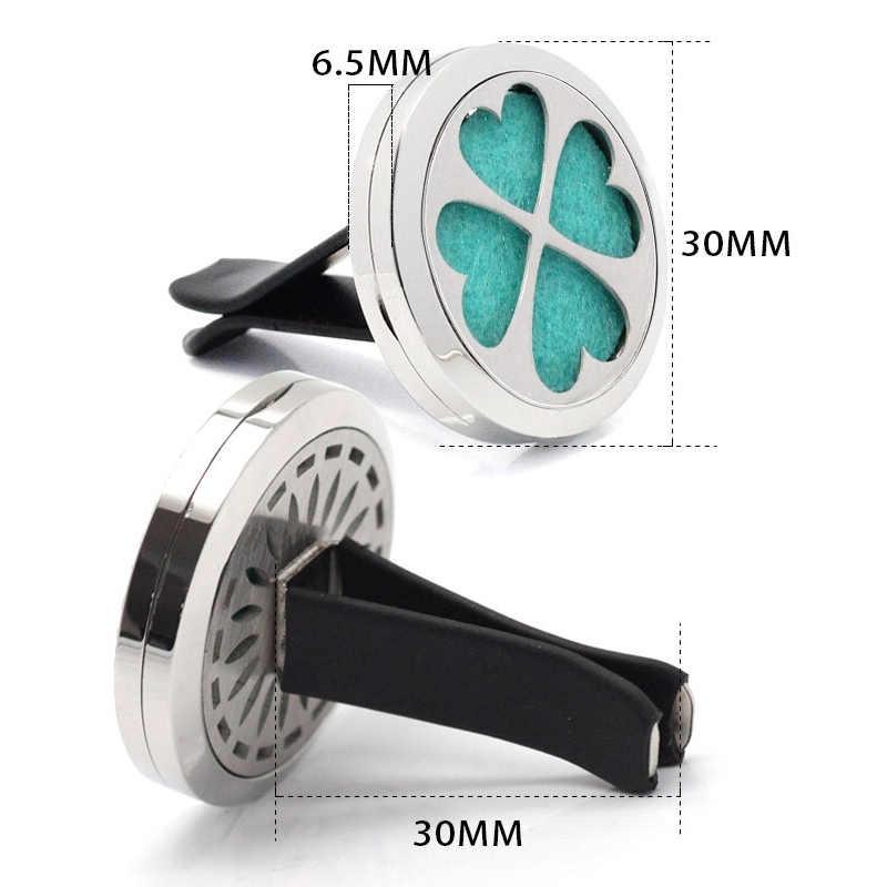 新しい明るい黒アロマセラピー観音カー空気清浄クリップステンレス鋼車エッセンシャルオイルディフューザーロケット香水ネックレス