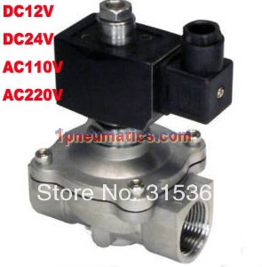 цена на Free Shipping 1'' Stainless Steel Normally Open Valve Water Acid Solenoid Valves Oil Acid VITON DC12V,DC24V AC110V or AC220V