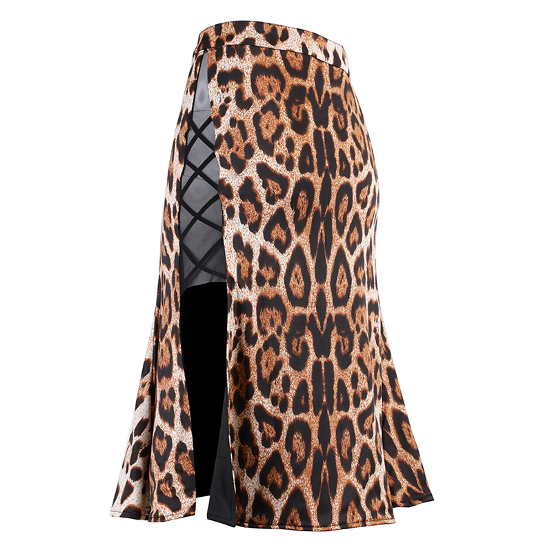 Mode femmes jupe latine imprimé léopard salle de bal pratique danse vêtements Tango Samba Rumba les deux côtés portable Dancewear DC1323
