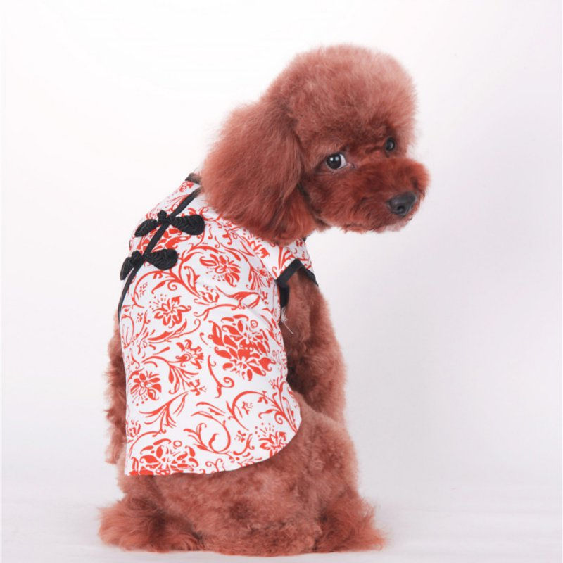 New Chinese Styel Dog Cat Red Blue Cheongsam T Shirt Clothes Lovely Pet Tang Suit Clothing Dress