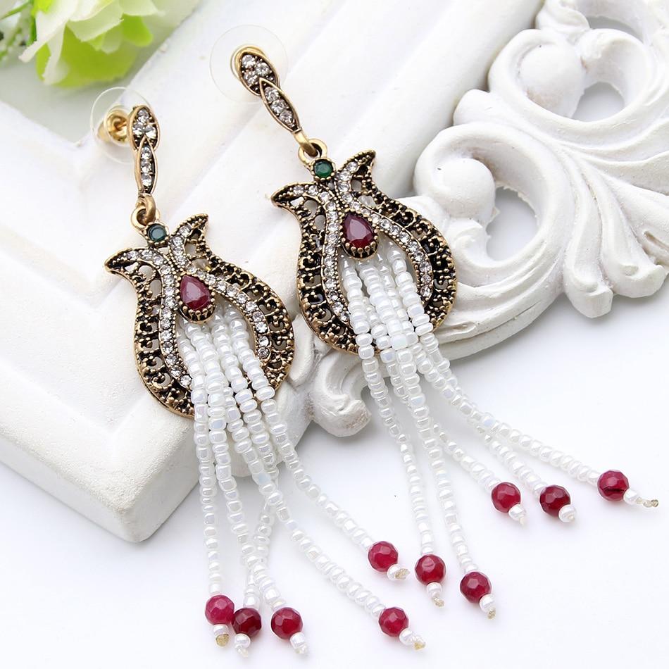 cf6edd04e7bd Moda con cuentas turco Pendientes damas de imitación de perlas chapado en  oro tulipán flor pendiente mujeres boda fiesta joyería
