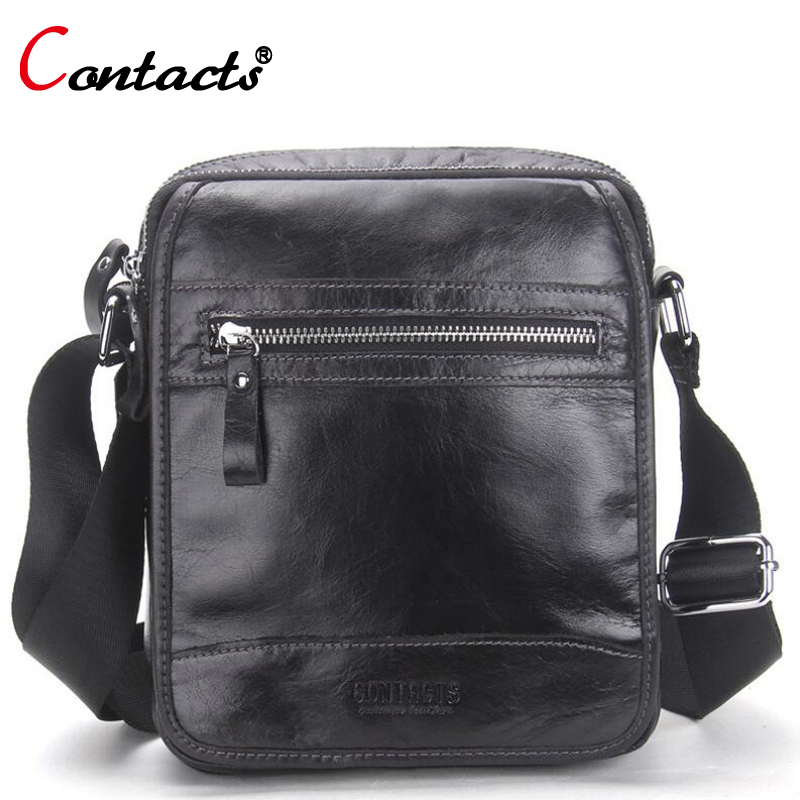 CONTACT'S Top sale men bag genuine leather bag male High Quality Messenger Bag Small Travel black Crossbody Shoulder Bag For Men hot 2017 genuine leather bags men high quality messenger bags small travel black crossbody shoulder bag for men li 1611