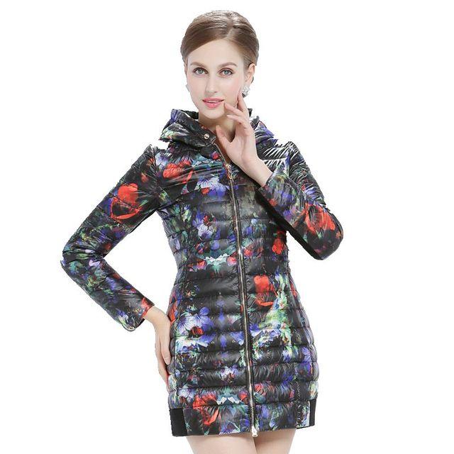 Women's Winter Jacket Print Long Slim Down Coat 2017 New Fashion Women Coats Hooded Thin Female Parka Ladies Jackets Y962