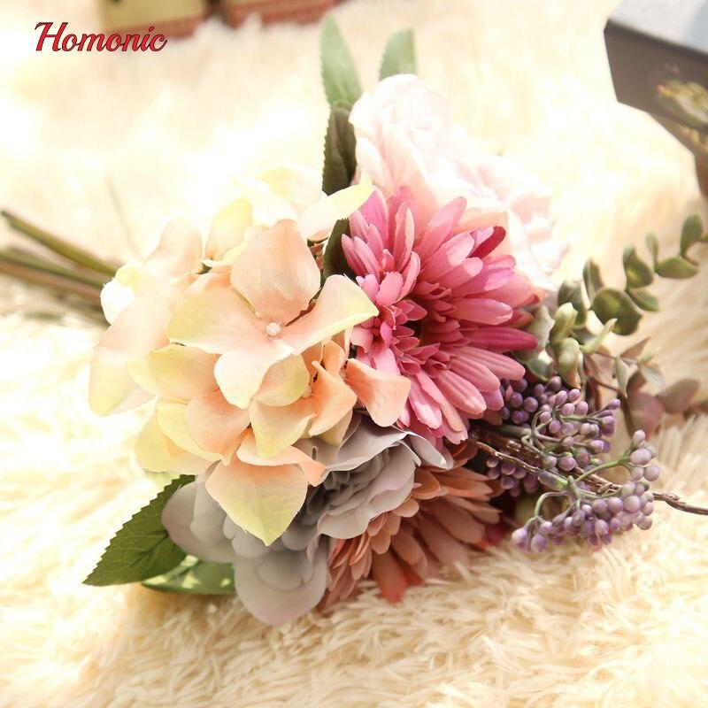 Hochzeitsblumen Brautstrausse Kunstliche Seide Rose Hortensien