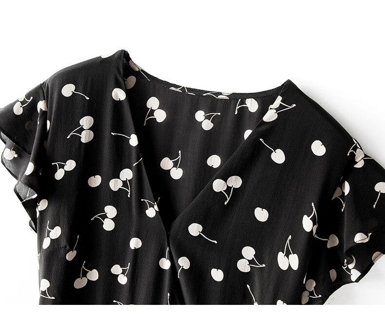 Vestido de verano 2019 para mujer nueva moda seda estampado cuello pico sin mangas ajustado A Line vestido Casual rodilla longitud S XL - 6