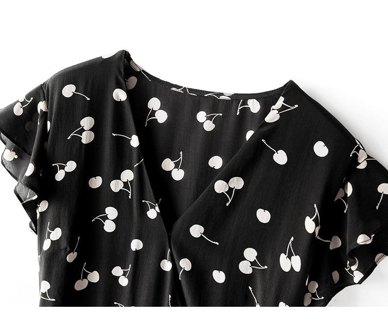 Zomer Jurk 2019 vrouwen New Fashion Zijde Bedrukt V hals Mouwloze Slanke A lijn Casual Dress Knielengte S XL - 6