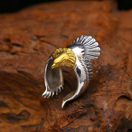 2019 Golden Eagle Domineering Personality Ring 925 Anillos Silver For Men Or Women Wedding Golden Peace Pigeon Punk Rock Ring