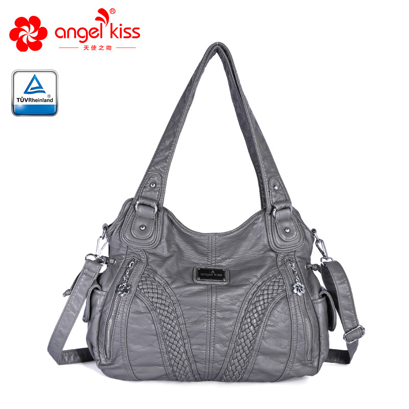 Angelkiss Design Hobos Handbags Womens Large Purse Feel Soft Lether Multiple Top Zipper Pockets Shoulder Bags