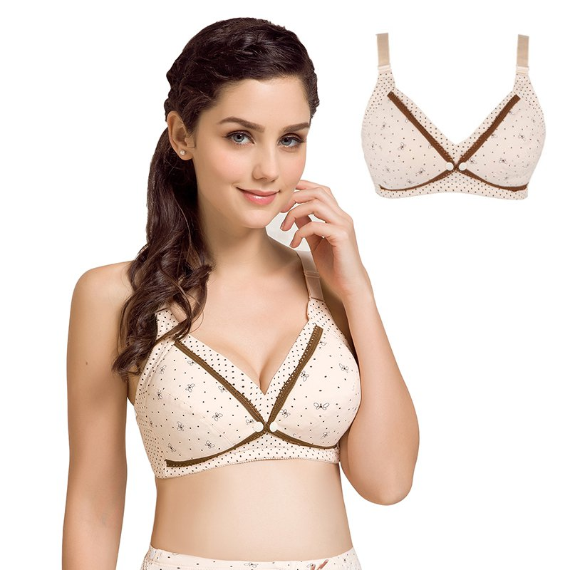 Cotton Comfortable Women Active Bra Sexy Wire Free Bras Fashion Floral Printed Seamless Bra Back Closure Adjusted straps Bras